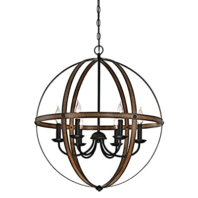 Westinghouse Lighting 6333600 Stella Mira Six-Light Indoor Chandelier, Barnwood and Oil Rubbed Bronze Finish - Rustic vintage-industrial style six-light chandelier is perfect for entryways and dining rooms Two-tone barnwood and Oil Rubbed Bronze finishes add vintage appeal. Adjustable length for perfect positioning Uses six 40-watt candelabra-base light bulbs (not included), or for a vintage appeal use Westinghouse timeless or filament LED light bulbs - kitchen-dining-room-decor, kitchen-dining-room, chandeliers-lighting - 51pmF5N7mCL. SS400  -