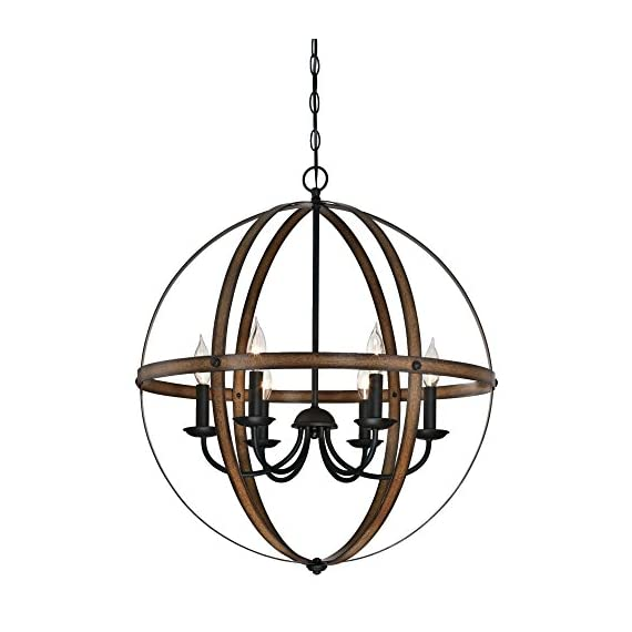 Westinghouse Lighting 6333600 Stella Mira Six-Light Indoor Chandelier, Barnwood and Oil Rubbed Bronze Finish - Rustic vintage-industrial style six-light chandelier is perfect for entryways and dining rooms Two-tone barnwood and Oil Rubbed Bronze finishes add vintage appeal. Adjustable length for perfect positioning Uses six 40-watt candelabra-base light bulbs (not included), or for a vintage appeal use Westinghouse timeless or filament LED light bulbs - kitchen-dining-room-decor, kitchen-dining-room, chandeliers-lighting - 51pmF5N7mCL. SS570  -
