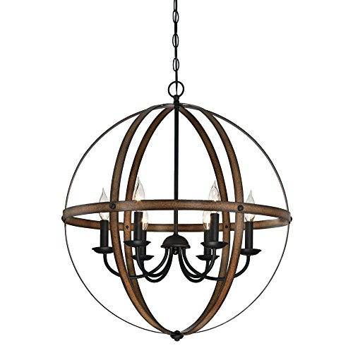Westinghouse Lighting 6333600 Stella Mira Six-Light Indoor Chandelier, Barnwood and Oil Rubbed Bronze Finish (Pendant Light Wood Bead)