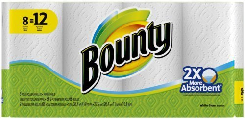 Bounty White Paper Towels Giant Rolls (8=12) by Bounty