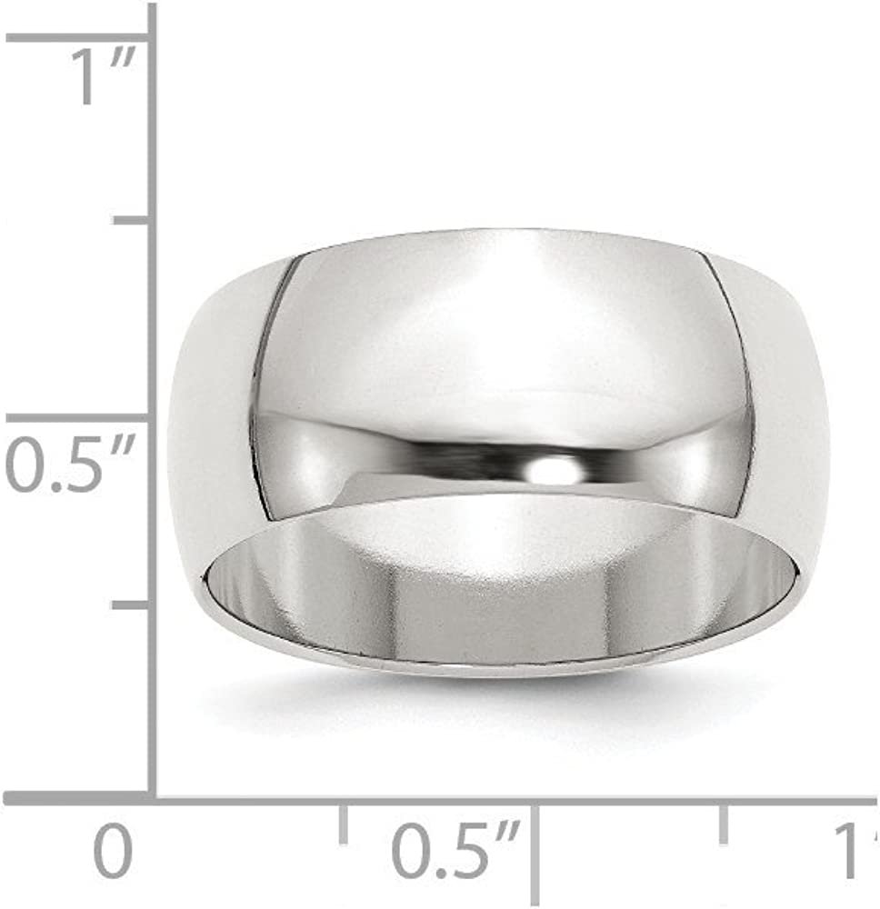 925 Sterling Silver Half-Round Band in Silver 10 11 12 4 5 6 7 8 9 ...