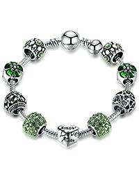 Love Beads Charms Bracelet for Girls and Women Murano Glass Beads Rose Flower Charms Amethyst Bracelets