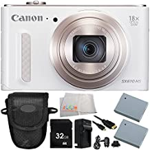 Canon PowerShot SX610 HS Digital Camera (White) 8PC Accessory Bundle – Includes 32GB SD Card + Point & Shoot Case + 2 Replacement Batteries + MORE