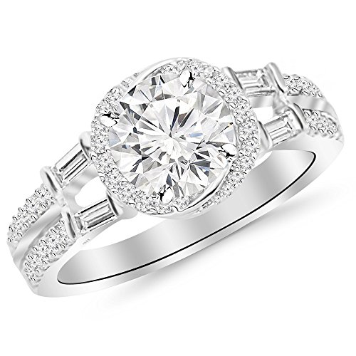 1.26 Cttw 14K White Gold Round Cut Designer Modern Split Shank Baguette and Round Diamond Engagement Ring with a 0.73 Carat D-E Color VS1-VS2 Clarity Center