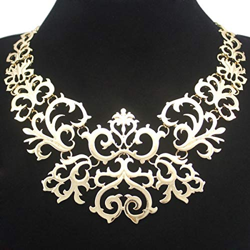 Victorian Filigree Flower Scroll Link Chain Collars, Pendants, Chokers, Necklaces   for Women Party Diamond Scroll Heart Pendant