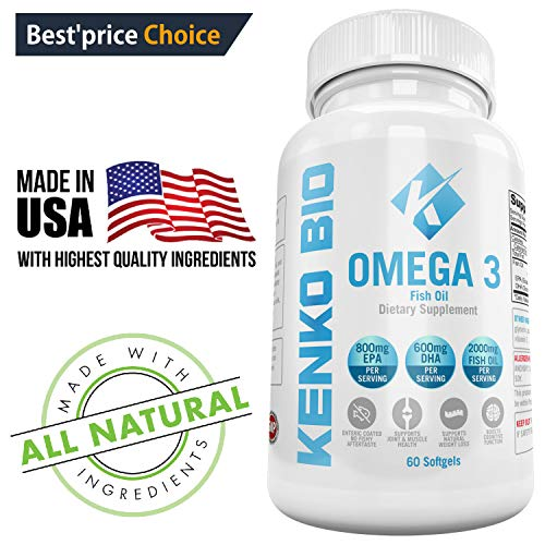 Premium Omega 3 Fish Oil Supplements 2000 mg Serving Softgel Capsules Best Source of Pure 800 mg EPA 600 mg DHA Fatty Acids, No Aftertaste NON-GMO, NSF Certified Kenko Bio by Kenko Bio
