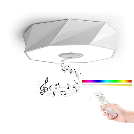 LED Lámpara de techo con Mando a distancia, HOREVO 24W Ø42cm Nórdica Moderna Plafón luz con Altavoz Bluetooth, APP, Blanco/Calido, ideal Para Salon ...