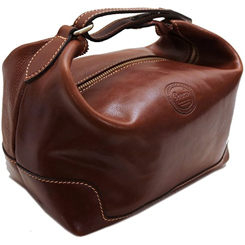 Cenzo Leather Travel Kit Toiletry Dopp Bag in Brown