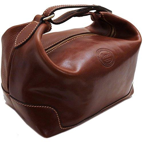 - Cenzo Leather Travel Kit Toiletry Dopp Bag in Brown