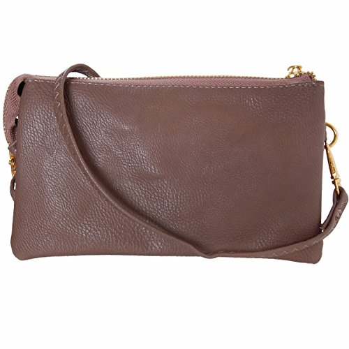 Humble Chic Vegan Leather Small Crossbody Bag or Wristlet Clutch Purse, Includes Adjustable Shoulder and Wrist Straps, Taupe Brown, Tan -