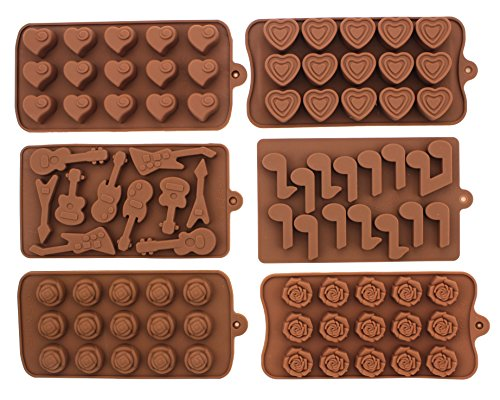 Heart Shaped Bar (Set of 6 Non-stick Silicone Chocolate Candy Making Mold Tray - Romantic Music with Guitar and a Bunch of Roses for Your Sweet)