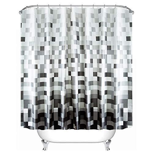 Custom Fabric Grey (Seavish Bathroom Shower Curtain, Grey Mosaic Fabric Waterproof Bath Curtain Set with Hooks Mildew Resistant Machine Washable, 72x78)