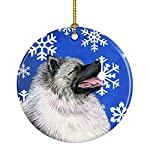 Caroline's Treasures SS4626-CO1 Keeshond Winter Snowflakes Holiday Christmas Ceramic Ornament SS4626, 3 in, Multicolor 3