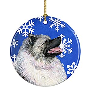Caroline's Treasures SS4626-CO1 Keeshond Winter Snowflakes Holiday Christmas Ceramic Ornament SS4626, 3 in, Multicolor 19