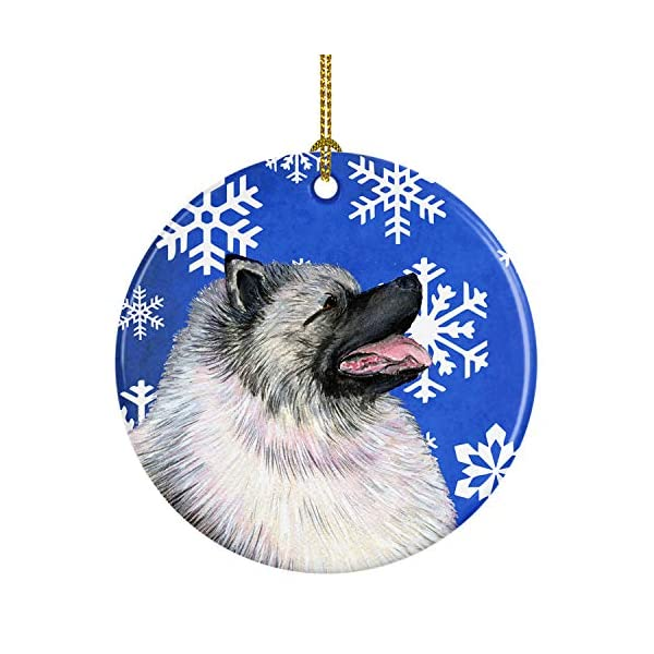 Caroline's Treasures SS4626-CO1 Keeshond Winter Snowflakes Holiday Christmas Ceramic Ornament SS4626, 3 in, Multicolor 1