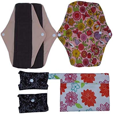 7pcs Set 1pc Mini Wet Bag 6pcs 10 Inch Regular Charcoal Bamboo Mama Cloth// Menstrual Pads// Reusable Sanitary Pads