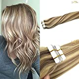 Googoo Ombre Ash Blonde Tape in Hair Extensions Remy Straight Highlighted Blonde Tape Hair 20pcs 50g