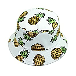 MSYOU Canvas Bucket Hat Pineapple Pattern Summer Reversible Sun Hat Women Girls Outdoor Hats for Beach Fishing Shopping Travel Hiking(Blue)