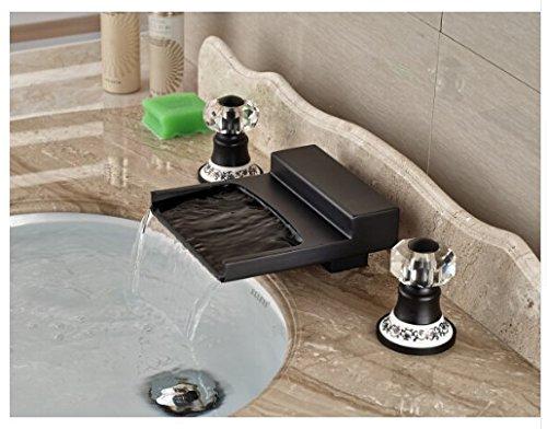 Gowe Modern Oil Rubbed Bronze Bathroom Waterfall Basin Faucet Sink Mixer Deck Mount 2 Crystal Handles 4