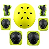 shuangjishan Child Multi-Sport Helmet With Knee Pads Elbow Wrist Protection Set for Skateboard Cycling Skate Scooter Yellow
