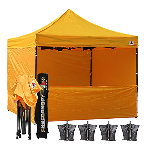 ABCCANOPY (18+ Colors Commercial 10x10 Instant Canopy Craft Display Tent with Wheeled Carry Bag & Full Walls, Bonus 4X Weight Bag & 10ft Screen Wall & 10ft Half Wall (Gold)