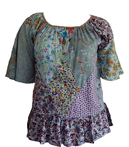 - Sacred Threads Funky Patchwork Nothing Matches Patch Top Shirt Small