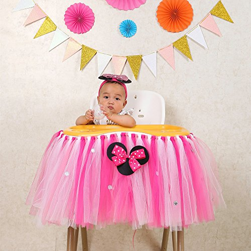 Baby 1St Birthday Deluxe High Chair Tutu Tulle Skirt Decoration Party Supplies Centerpiece  36   Multiple Colors  Rose Red