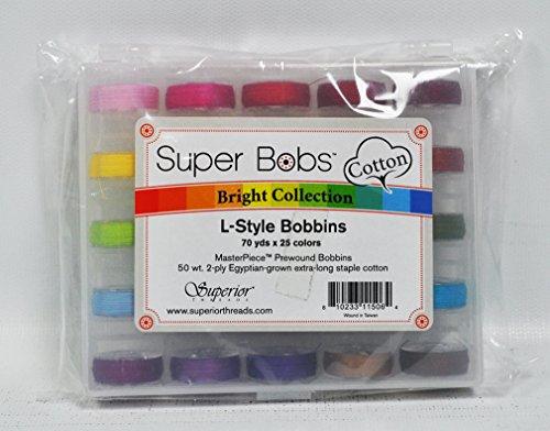 Superior Masterpiece Cotton Thread - Super Bobs L-Style MasterPiece Cotton Prewound Bobbins Bright Colors Collection