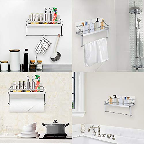 Carry360 Adhesive Paper Towel Holder Shelf,Wall Mounted Paper Towel Roll Rack Basket for Kitchen,Shower Bathroom & Balcony,Rustproof,No Drilling,SUS 304 Stainless Steel