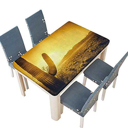 PINAFORE Waterproof SpillProof Tablecloth Epic Desert Sunset Over Valley of The Sun,Phoenix,Scottsdale,Arizona with Saguaro Cactus for Dining Room W45 x L84.5 INCH (Elastic Edge) ()