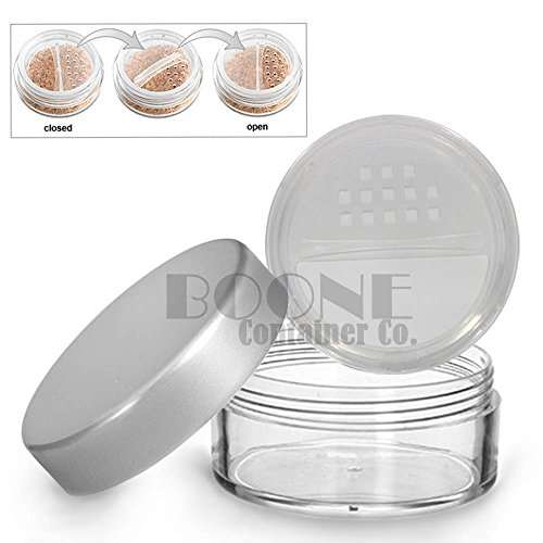 2-Pack 20g/20ml Clear Powder Sifter Empty Refillable Cosmetic Makeup Jar w/Twist Rotating Closable Sifter & Silver Lids (Silver Sifter)