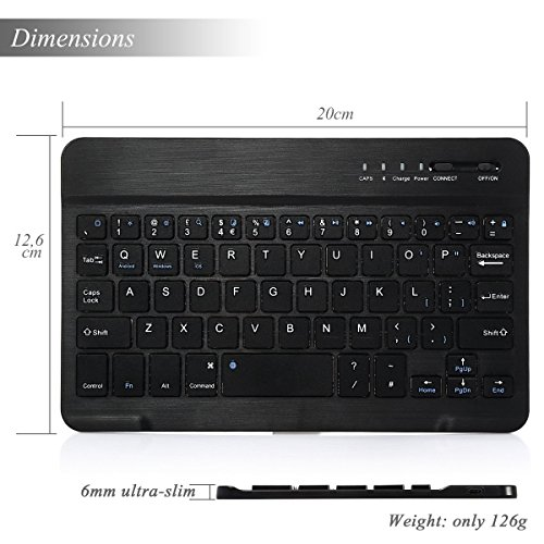 CoastaCloud 7-inch Ultra Slim Portable Wireless Bluetooth Keyboard for iPad 2/3/4, iPad Mini 4/3/2/1, Galaxy Tab and other iOS, Android, Windows Devices (Black) by CoastaCloud (Image #3)