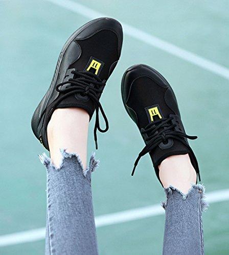 35 Primavera Running Estudiante Color Mujer Otoño Planos Negro Sports Viaje Aire Mujer para al Zapatos Absorbing para Libre Gris de Malla Shock Zapatos Zapatillas PU tamaño Gimnasia Casuales Zapatos Y1pnq