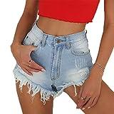 NEW Women High Waisted Frayed Raw Hem Holes Washed Denim Shorts (Blue-1,S)