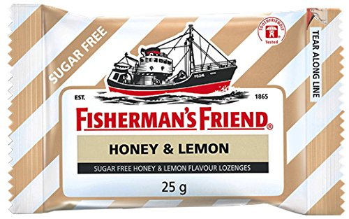 Fisherman's Friend Sugar Free Refreshing Honey & Lemon Flavor Cough Lozenges, 25g pack, (Pack of 12) Sore Throat Lozenges Original Mint