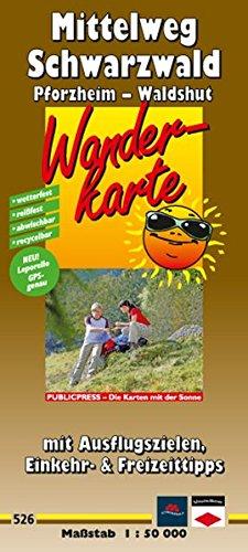 Wanderkarte Mittelweg Schwarzwald, Pforzheim - Waldshut: mit Ausflugszielen, Einkehr- & Freizeittipps, wetterfest, reissfest, abwischbar, GPS-genau. 1:50000