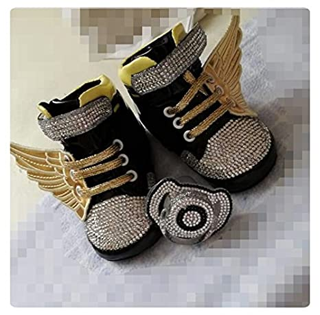 Lujo Zapatos de Bebé con brillantes y chupete, Luxury Baby schoes ...