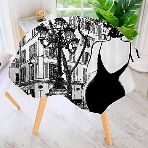 """YCHY Easy-Care Cloth Premium Tablecloth Round-Young Elegant Woman in Black Dress in Paris StreOld Building cade Cityscape Great for Buffet Table, Parties, Holiday Dinner & More 71"""" Round"""