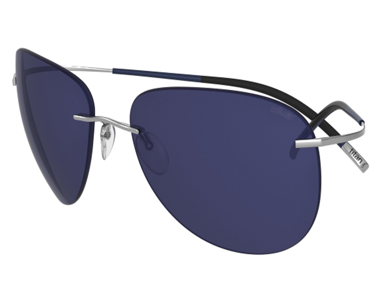 Silhouette Sunglasses Titan Minimal ART The Icon 8697 medium to large fit (ruthenium shiny / polarized cobalt blue lenses)