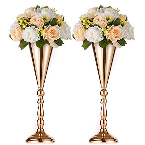 Sfeexun 2 Pcs/Set Tabletop Metal Wedding Flower Trumpet Vase Table Decorative Centerpiece Artificial Flower Arrangements for Anniversary Ceremony Party Birthday Event Aisle Home Decoration -