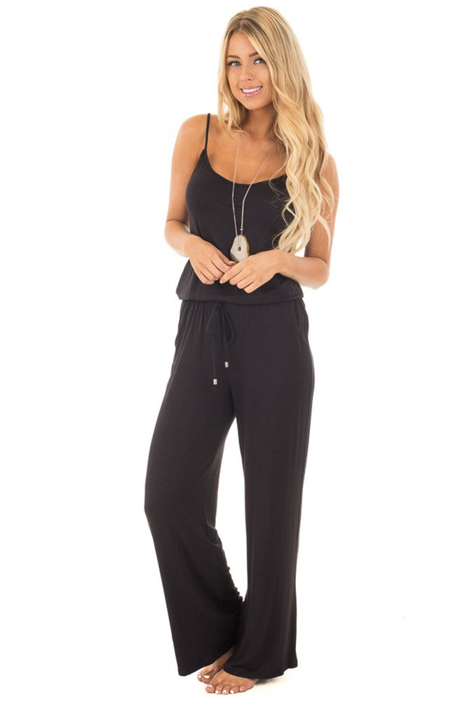 sullcom Women Summer Solid Sleeveless Wide Leg Jumpsuit Casual Spaghetti Strap Stretchy Long Pant Rompers by sullcom (Image #3)