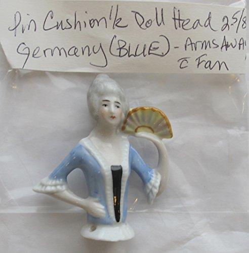 Vintage PORCELAIN Glazed PIN CUSHION HALF DOLL Head 2-5/8