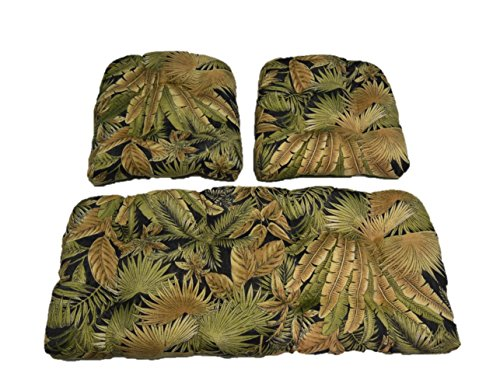 Resort Spa Home Decor Made with Tommy Bahama Black Green Tan Tropical Palm Leaf Bahama Breeze Cushions for Wicker Loveseat Settee & 2 Matching Chair Cushions (Wicker Settee Furniture)