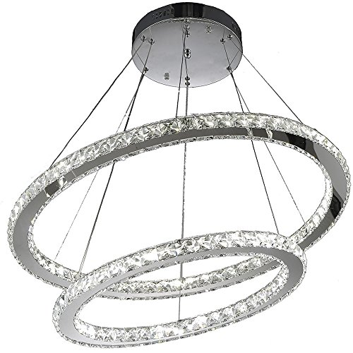 Crystal Deco Ring (VALLKIN Newest Indoor Home Deco LED Crystal Ceiling Chandeliers Pendant Lighting Hanging Lamp Lighting with 60W CE FCC ROHS (2 Rings D60CM+ 80CM LED COOL WHITE))