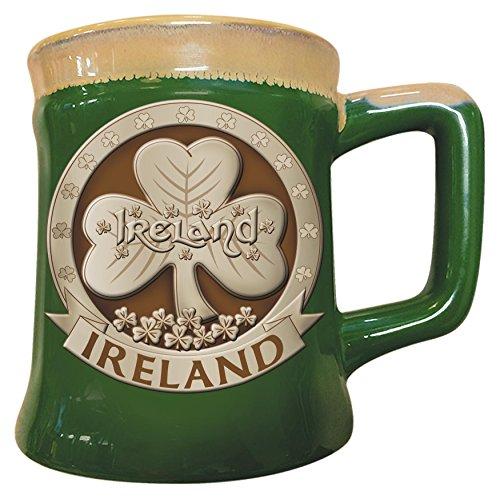 Irish Designed Pottery Mug With A Shamrock Design, Green Colour