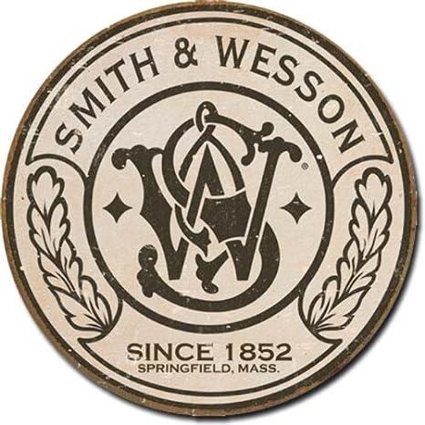 Amazon.com: Smith & Wesson – Cartel redondo de metal en ...