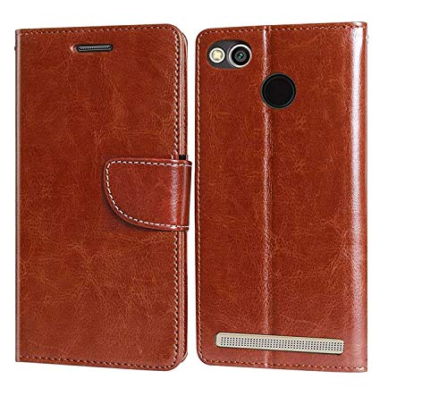covernew lishen royal leather Flip Cover for mi redmi 3s prime   brown