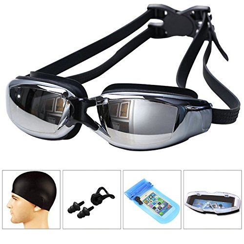 LJSGK Swim Goggles [ 6 in 1] - No Leaking Anti Fog UV Protection Triathlon Swim Goggles Crystal Clear Vision with Protective Case for Adult Men Women Youth Kids Child (Black)