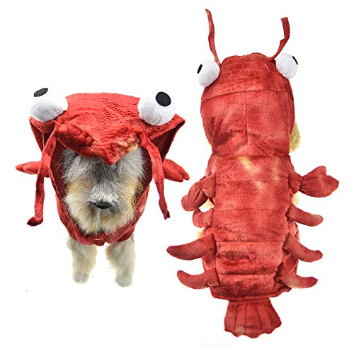 MUYAOPET Lobster Dog Halloween Costume Winter Warm Pet Coat Clothes for Small Medium Dog (S(Bust 13.7