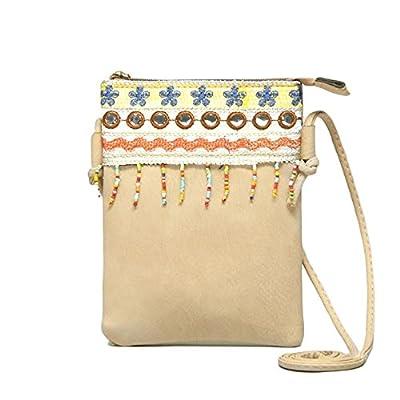Cute Shoulder Bag Vegan Faux Leather Hippie Bohemian Clutch Purse Zipper Strap